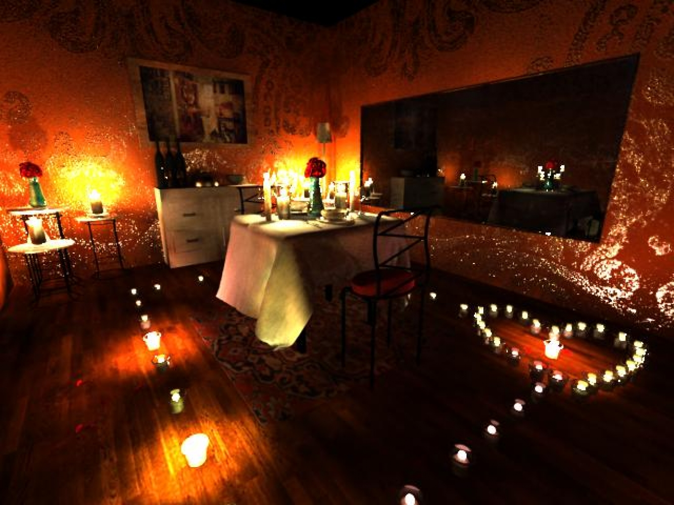 Romantic bedroom at night - Romantic Proposal With Candles
